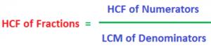 HCF of fractions formula