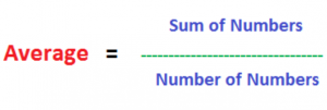 Average= Sum of Numbers/Number of Numbers