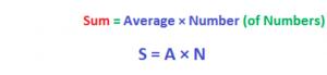 Sum = Average*Number